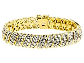 Pre-Owned White Diamond 14k Yellow Gold Over Brass Bracelet 1.00ctw