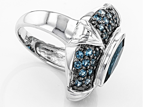 Pre-Owned London Blue Topaz Sterling Silver Ring 4.37ctw