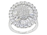 Pre-Owned White Cubic Zirconia Rhodium Over Sterling Silver Ring 6.12ctw