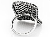 Pre-Owned Black Spinel Sterling Silver Ring 3.17ctw