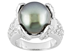 Pre-Owned Cultured Tahitian Pearl With White Topaz Sterling Silver Ring