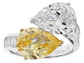Pre-Owned Yellow And White Cubic Zirconia Rhodium Over Sterling Silver Ring 11.00ctw