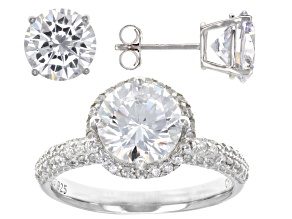 Pre-Owned White Cubic Zirconia Rhodium Over Sterling Silver Ring And Earrings 11.92ctw