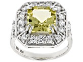 Pre-Owned Yellow apatite sterling silver ring 4.56ctw