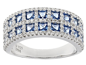 Pre-Owned Blue Synthetic Spinel And White Cubic Zirconia Rhodium Over Sterling Silver Ring 2.60ctw