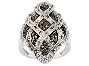 Pre-Owned Black And White Diamond Rhodium Over Brass Ring .50ctw