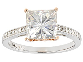 Pre-Owned Moissanite Fire® 3.26ctw DEW Platineve™ And 14k Rose Gold Over Platineve Two Tone Ring