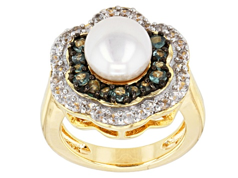 Pre-Owned Cultured Freshwater Pearl, Alexandrite, Zircon 18k Gold Over Silver Ring