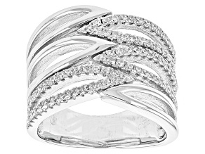 Pre-Owned White Cubic Zirconia Rhodium Over Sterling Silver Ring 1.00ctw