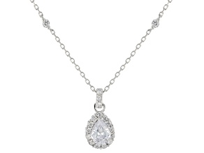 Pre-Owned White Cubic Zirconia Rhodium Over Sterling Silver Pendant With Chain 1.64ctw
