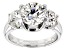 Pre-Owned Moissanite Platineve 3 Stone Ring 4.30ctw DEW