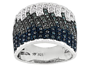 Pre-Owned Blue, Aqua And White Diamond Rhodium Over Silver Ring 1.15ctw