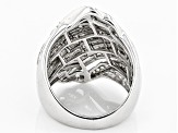 Pre-Owned White Diamond Rhodium Over Sterling Silver Ring 1.50ctw