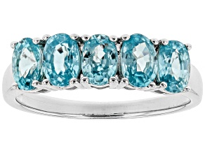 Pre-Owned Blue Zircon Sterling Silver Ring 3.10ctw