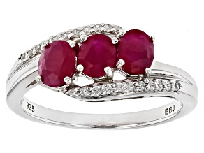Pre-Owned Red Ruby Sterling Silver Ring 1.26ctw