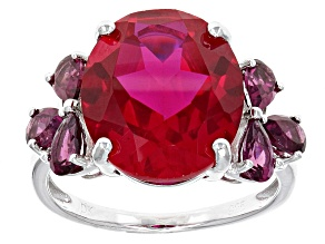 Pre-Owned Red Lab Created Ruby Sterling Silver Ring 7.14ctw