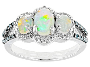 Pre-Owned Ethiopian Opal Sterling Silver Ring 1.11ctw