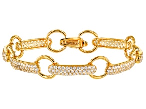 Pre-Owned White Cubic Zirconia 18K Yellow Gold Over Sterling Silver Bracelet 6.19ctw