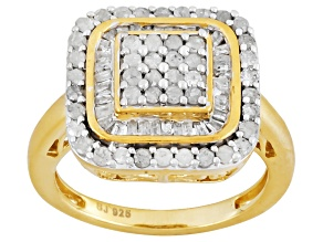 Pre-Owned Diamond 14k Yellow Gold Over Silver Ring 1.00ctw