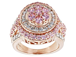 Pre-Owned Pink And White Cubic Zirconia 18k Rose Gold Over Silver Ring 5.05ctw (2.52ctw DEW)