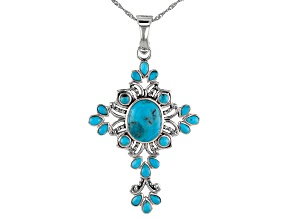 Pre-Owned Blue Turquoise Sterling Silver Cross Enhancer/Pendant With Chain