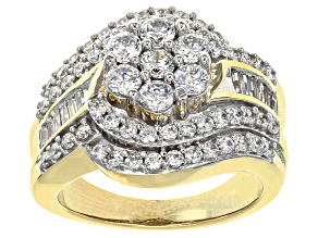 Pre-Owned Cubic Zirconia 18k Yellow Gold Over Silver Ring 3.36ctw (2.14ctw DEW)