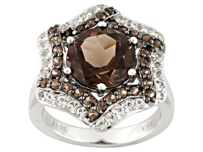 Pre-Owned Brown Smoky Quartz Sterling Silver Ring 3.64ctw