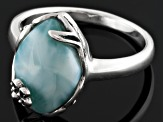 Pre-Owned Blue Larimar Sterling Silver Ring.