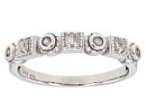 Pre-Owned White Diamond Rhodium Over Sterling Silver Ring .15ctw