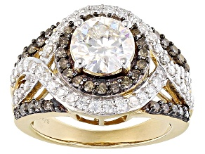 Pre-Owned Moissanite And Brown Diamond Ring 14k Yellow Gold Over Sterling Silver