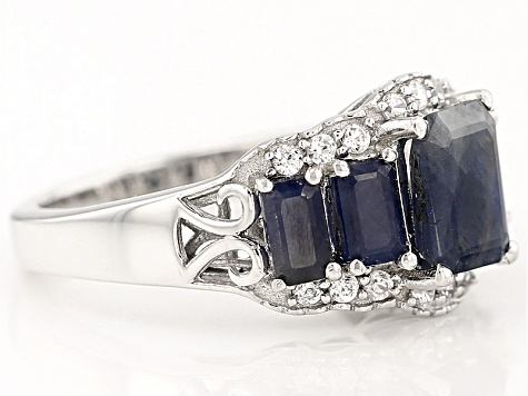 Pre-Owned Blue Sapphire And White Zircon Sterling Silver Ring 3.41ctw