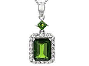 Pre-Owned Green Russian Chrome Diopside Sterling Silver Pendant With Chain 3.09ctw