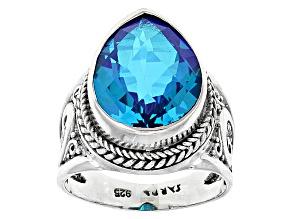 Pre-Owned Blue Caribbean Quartz Triplet Sterling Silver Ring