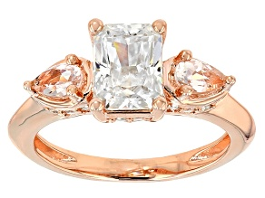 Pre-Owned Moissanite Fire® 1.96ctw DEW And .38ctw Morganite 14k Rose Gold Over Silver Ring.