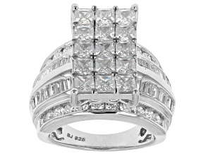 Pre-Owned Cubic Zirconia Silver Ring 8.29ctw (4.79ctw DEW)