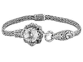 Pre-Owned White Quartz Sterling Silver Flower Bracelet 5.93ctw
