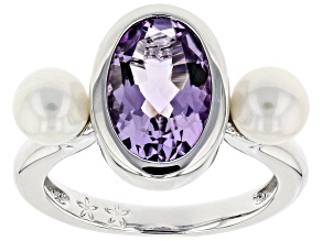 Pre-Owned 5.5-6mm Cultured Freshwater Pearl And Pink Amethyst Rhodium Over Sterling Silver Ring