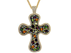 Pre-Owned Off Park ® Collection Multicolor Crystal Gold Tone Cross Necklace