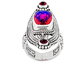 Pre-Owned Rainbow Red Volcanic Quartz Triplet Silver Ring 46ctw
