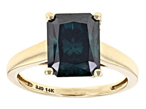 Pre-Owned Green Moissanite 14k Yellow Gold Ring 3.90ct D.E.W