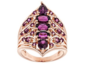 Pre-Owned Raspberry color rhodolite 18k rose gold over silver ring 3.49ctw