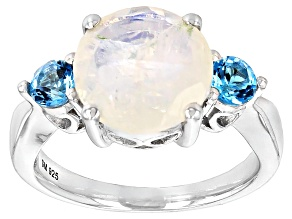 Pre-Owned White Rainbow Moonstone Sterling Silver Ring .60ctw