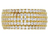 Pre-Owned White Cubic Zirconia 18k Yellow Gold Over Sterling Silver Ring And Earrings 5.38ctw