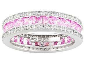 Pre-Owned Pink And White Cubic Zirconia Rhodium Over Silver Ring 4.84ctw