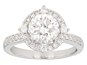 Pre-Owned Moissanite Fire® 1.90ctw Diamond Equivalent Weight Round Platineve™ Ring
