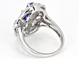 Pre-Owned Blue tanzanite rhodium over sterling silver ring 1.68ctw