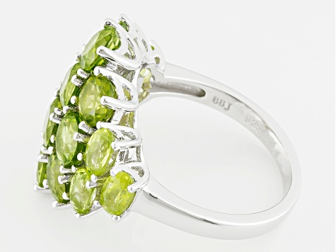 Pre-Owned Green Peridot Sterling Silver Ring 6.25ctw