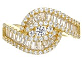 Pre-Owned white cubic zirconia 18k yg over sterling silver ring 1.67ctw
