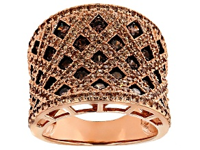 Pre-Owned Brown And Mocha Cubic Zirconia 18k Rose Gold Over Silver Ring 4.28ctw