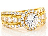Pre-Owned White Cubic Zirconia 18k Yellow Gold Over Silver Ring 5.80ctw